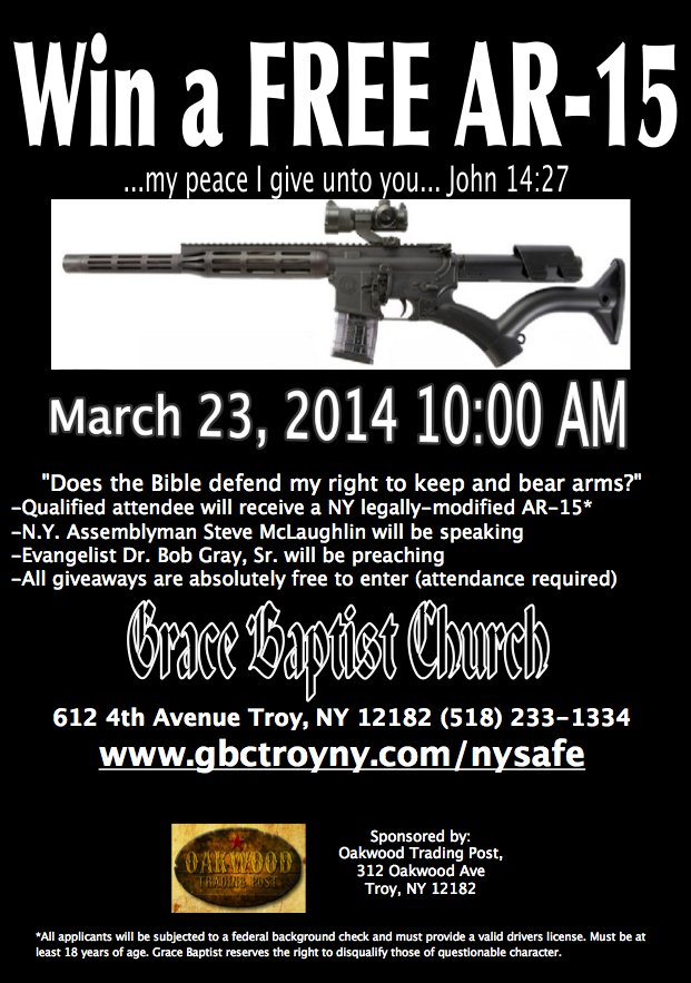 Grace Baptist Church AR-15 Gun Giveaway Flyer